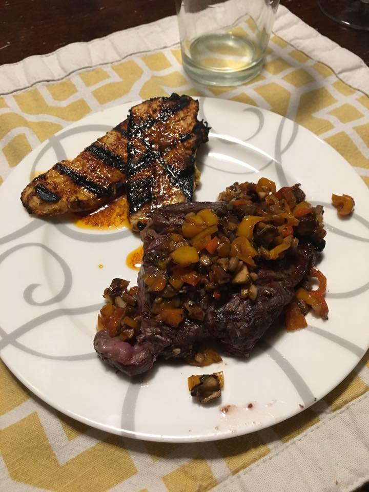 steak with sauted chutney and grilled plaintain