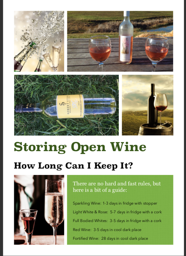 Image result for storing open wine